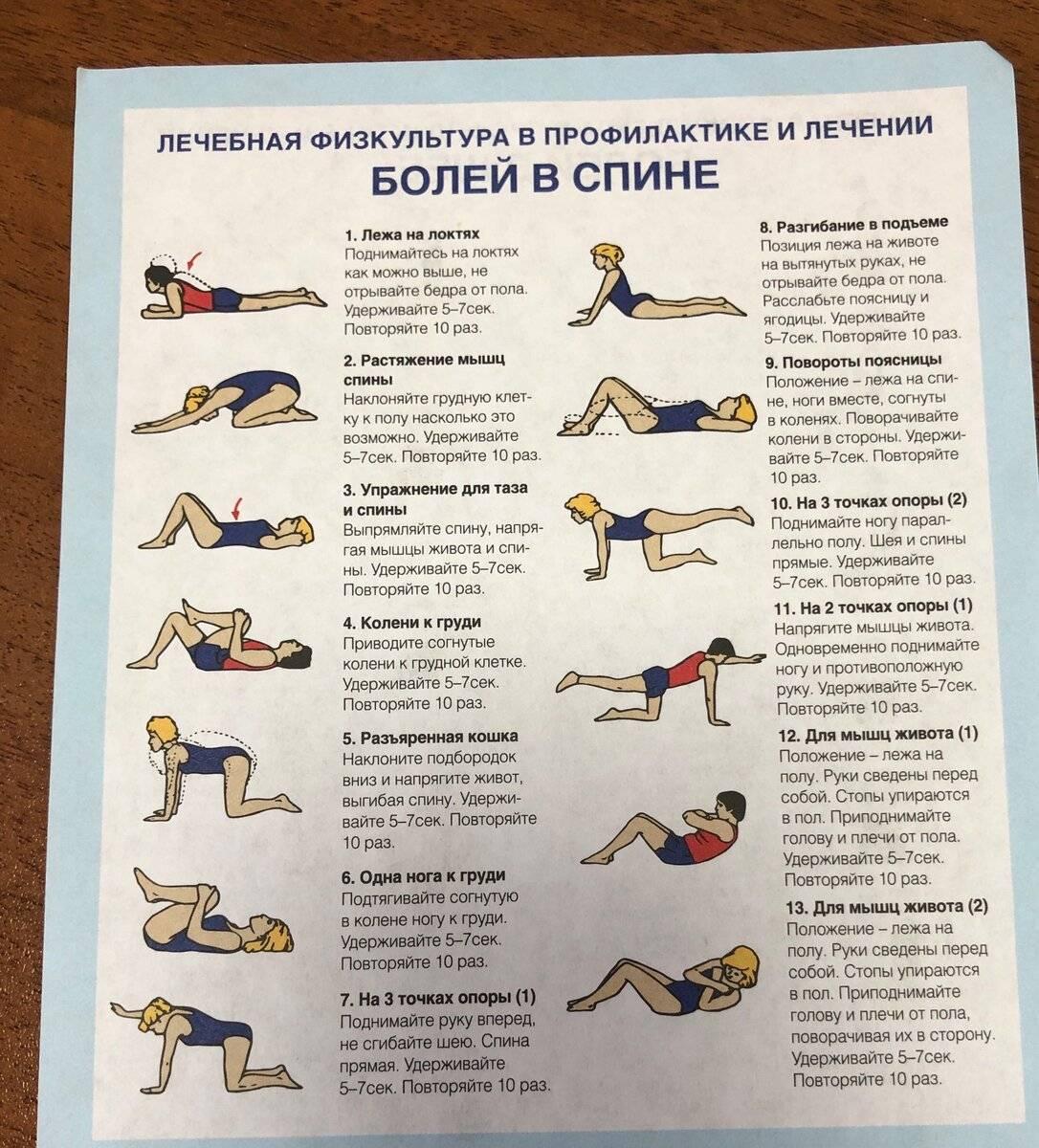 Какие упражнения нужно выполнять при болях в пояснице?