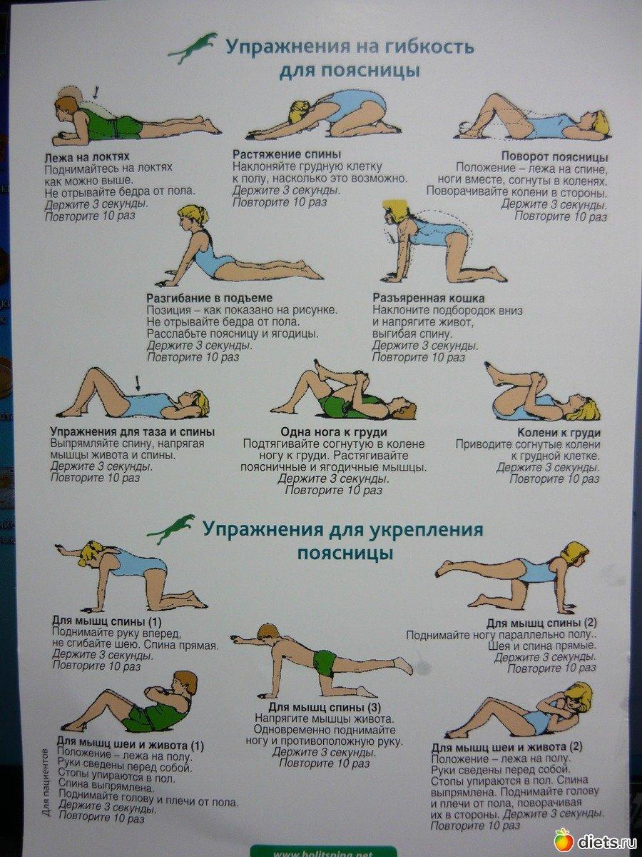 Упражнения при болях в пояснице